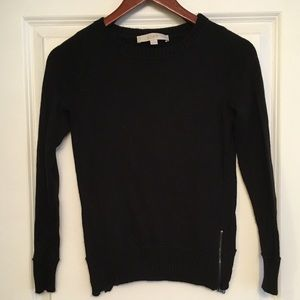 Loft side zipper detail black crew knit sweater